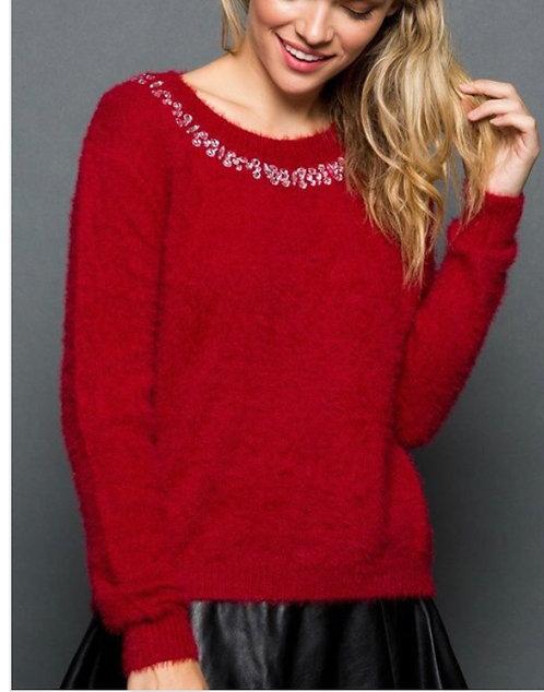 Red Rhinestone Sweater