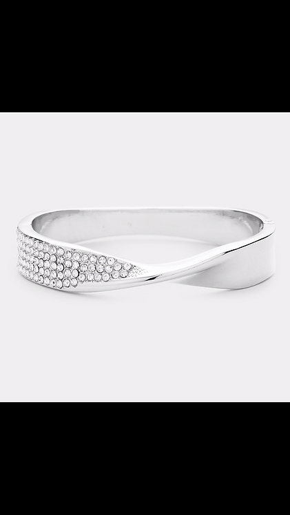 Metal Bling Hinge Bracelet - Silver