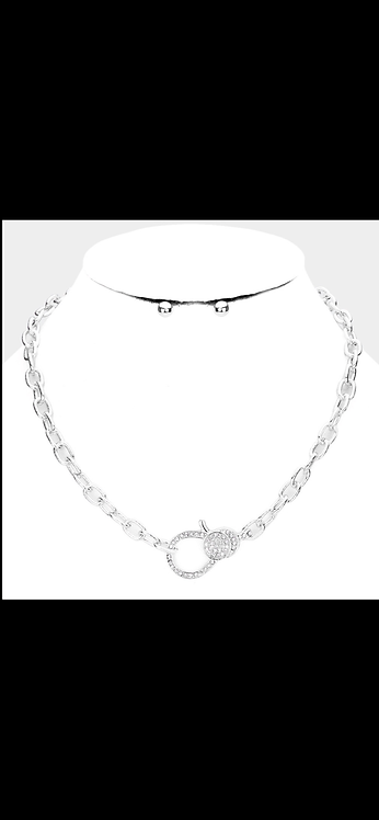 Pave Chain Bling Necklace - Silver