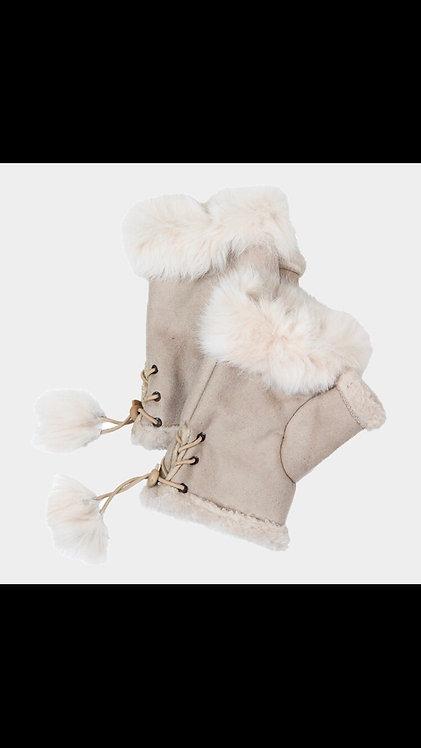 Solid Fur Fingerless Gloves - Beige