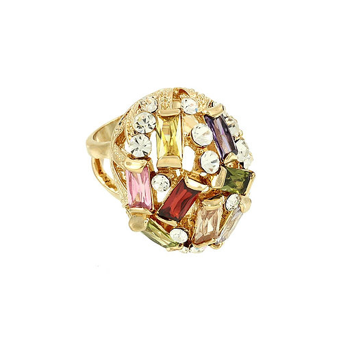 Multi-Color Cocktail Ring - Gold