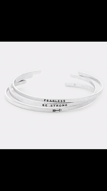 Fearless Bangle Set - Silver