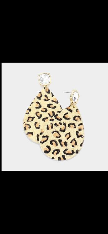 Leopard Faux Leather Dangle - Taupe