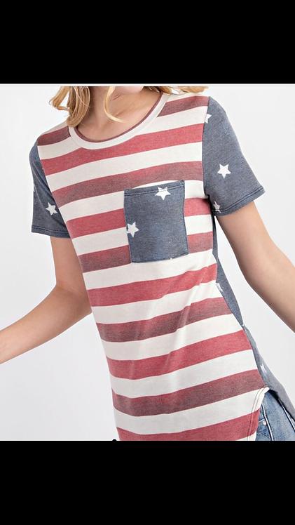 Stripe Flag Short Sleeve