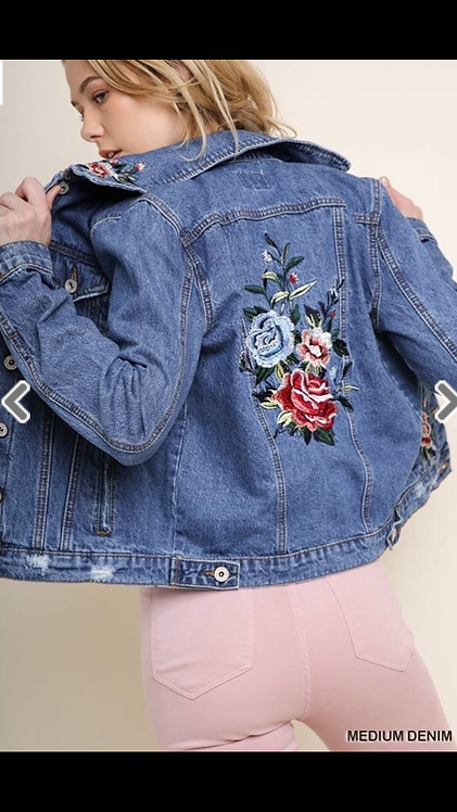 Distressed Floral Denim Jacket