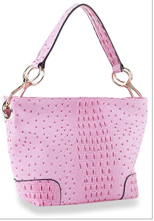 Pink Ostrich Hobo Handbag
