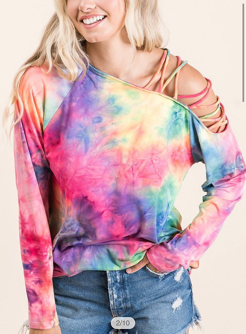 Tie Dye Shredded Sleeve