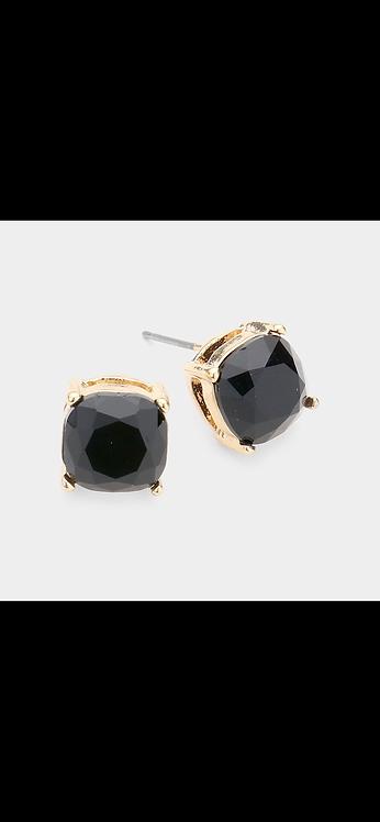 Stud Earrings - Black Gold