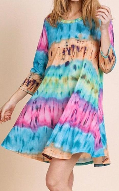 Tie Dye 3/4 Sleeve Dress