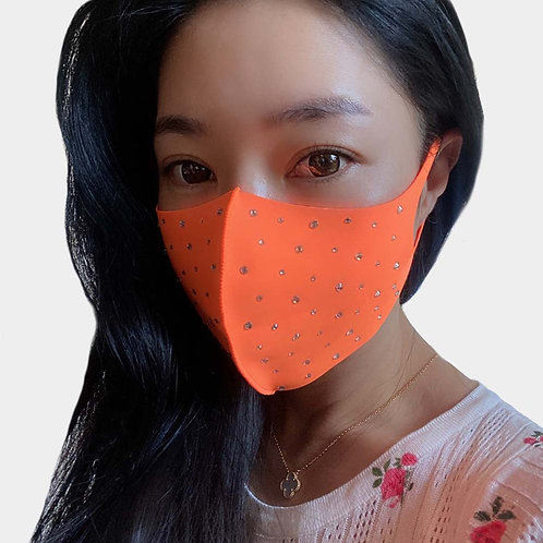 Bling Face Mask - Neon Orange
