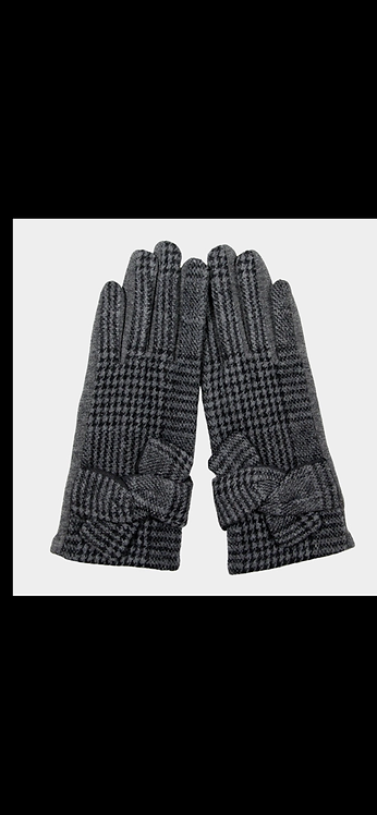 Houndstooth Tie Glove - Gray