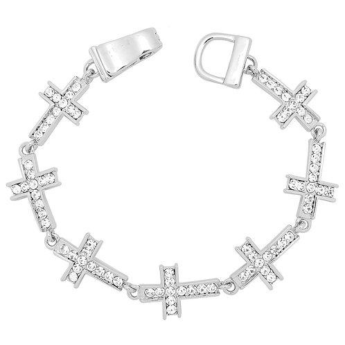 Magnetic Bling Cross Bracelet - Silver