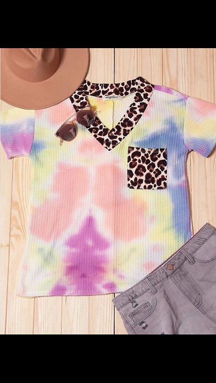 Tie Dye Leopard Short Sleeve