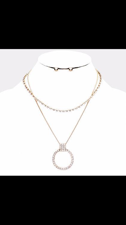 Rhinestone Layered Circle Necklace - Gold
