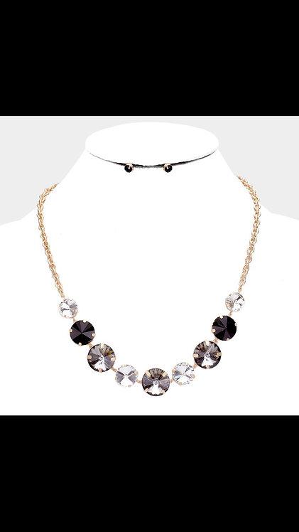 Circle Stone Bling Necklace - Gunmetal