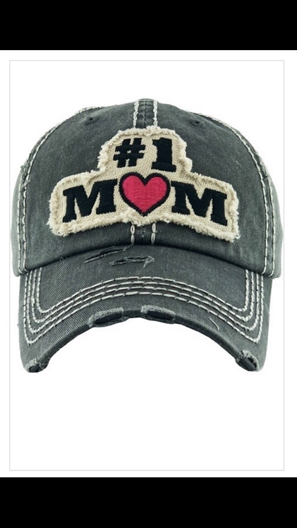 #1 Mom Baseball Hat - Black