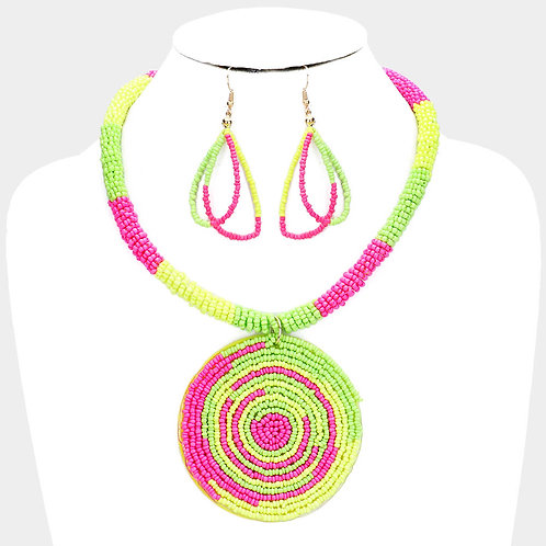 Neon Swirl Beaded Necklace