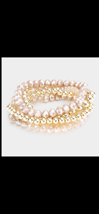 Beaded Bracelet Set - Pink