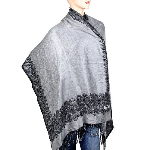 Gray Black Reversible Pashmina