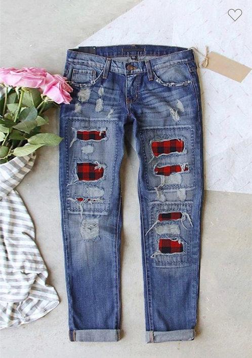 Buffalo Plaid Distressed Jeans