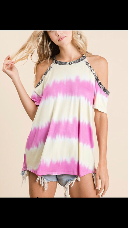 Tie Dye Leopard Trim Cold Shoulder