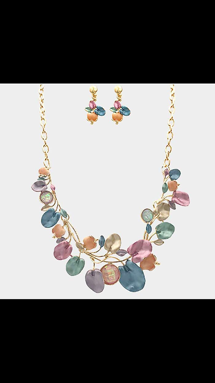 Metal Vine Necklace - Multi Color