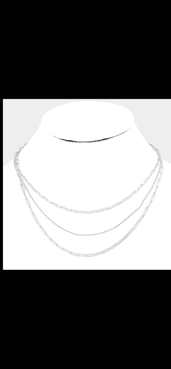 Silver Layered Metal Necklace