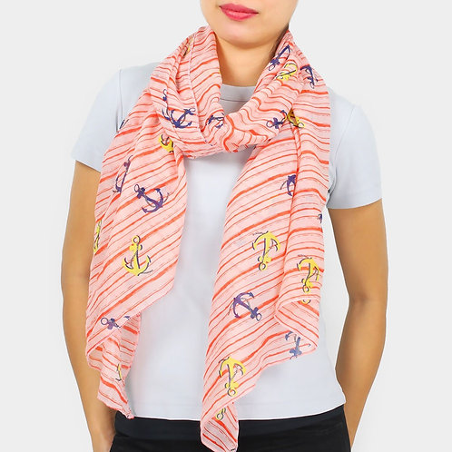 Bling Anchor Scarf - Coral