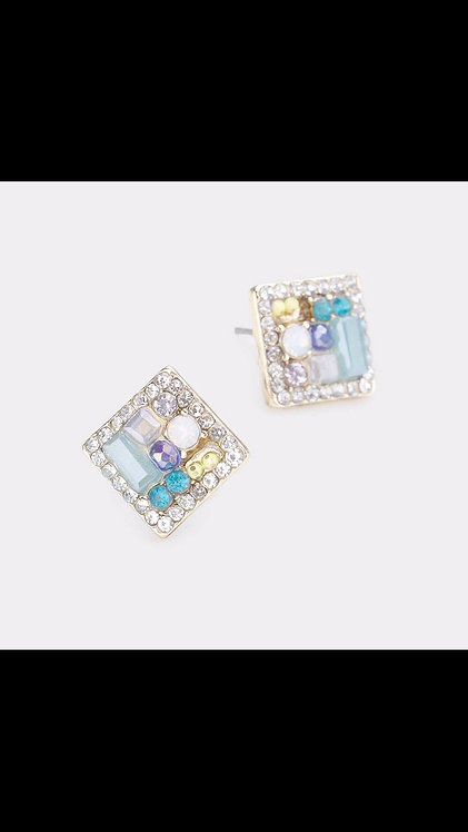 Square Gem Small Stud - Teal