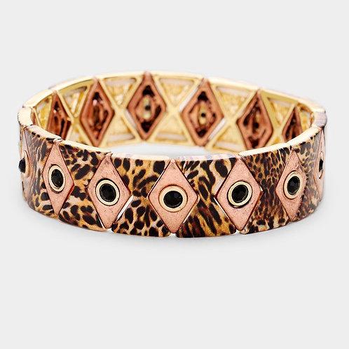 Rhombus Bling Stretch Bracelet - Pink Leopard