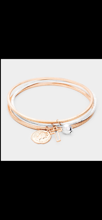 Metal Layered Cross Bracelet - Rose Gold