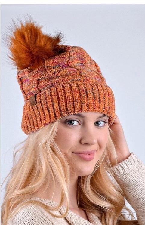 Pom Pom Knit Hat - Orange