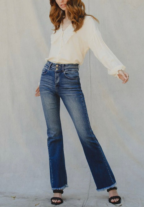 Frayed Hem Bootcut Jeans