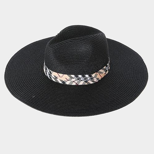 Black Sun Hat - Plaid Ribbon