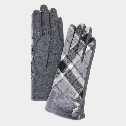 Gray Fur Button Glove