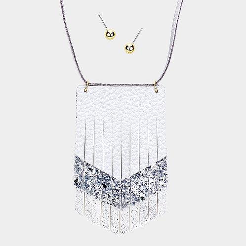 Felt Back Aztec Necklace - Silver
