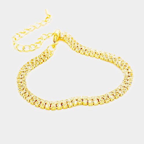Rhinestone Tennis Bracelet - Gold