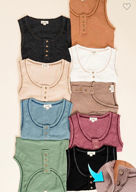 Button Ribbed Fitted Tank - 3 Options