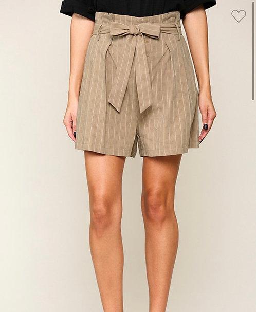 Stripe Paper Bag Shorts - Olive