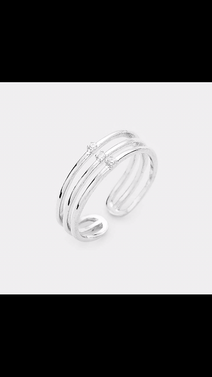 Delicate Metal and Bling Ring - Silver