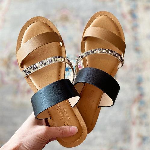 Leopard Bling Colorblock Sandal