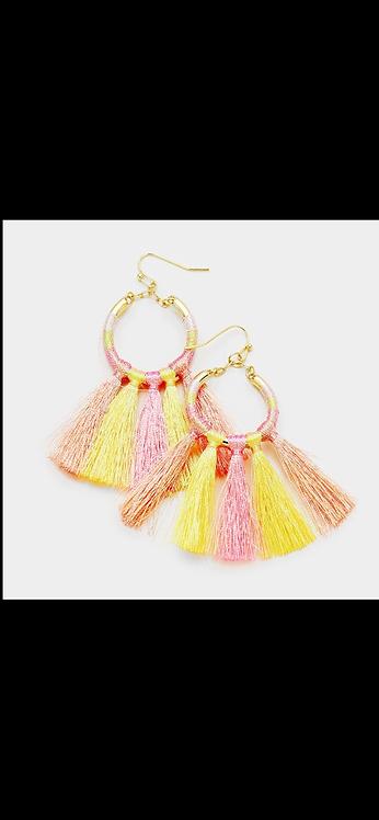 Threaded Loop Dangles - Yellow Pink