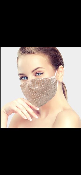 Sequin Sparkle Face Mask - Peach