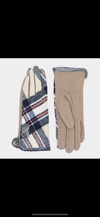 Plaid Poof Button Glove - Tan Ivory