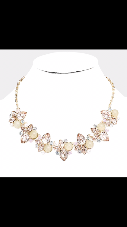 Large Gem Leaf Necklace - Rose Gold