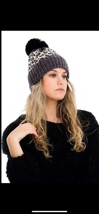 Charcoal and Ivory Leopard Poof Hat