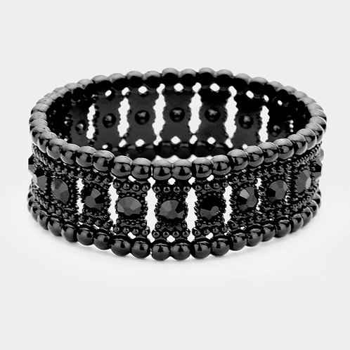 Crystal Round Stretch Bracelet - Black