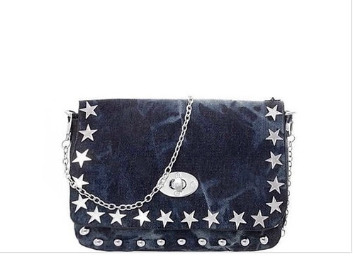 Denim Star Bling Small Messenger