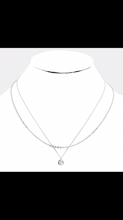 Layered CZ Chain Solitaire - Silver