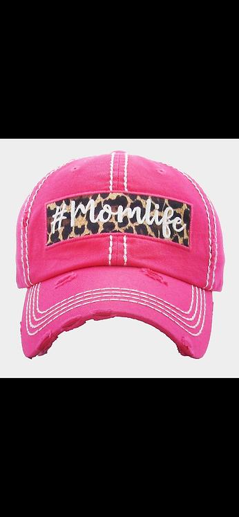 Mom Life Leopard Hat - Pink